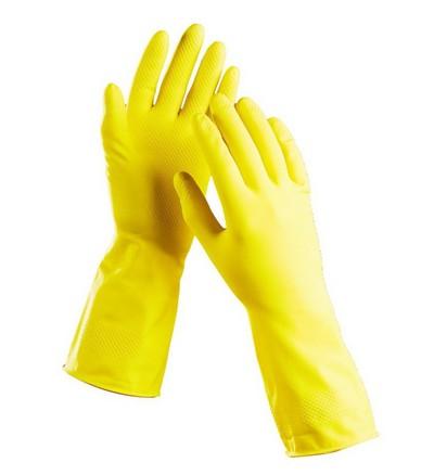 Перчатки латексные хозяйственные с хлопковым напылением «Лотос люкс»